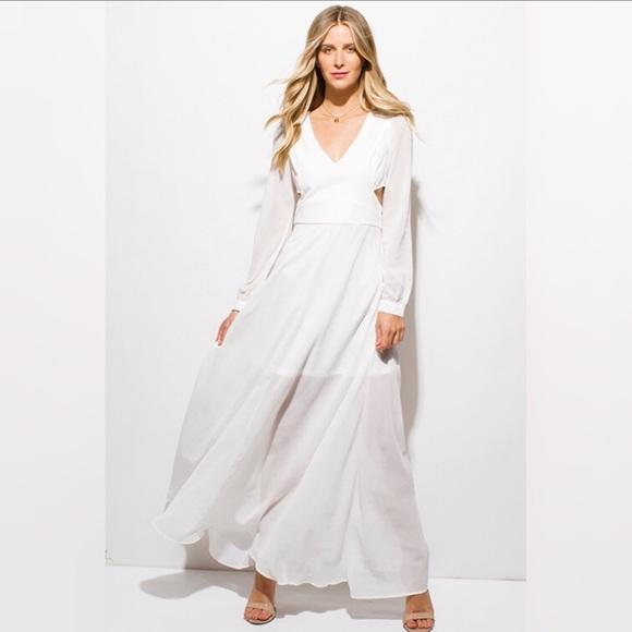 White Blouson Maxi Dress